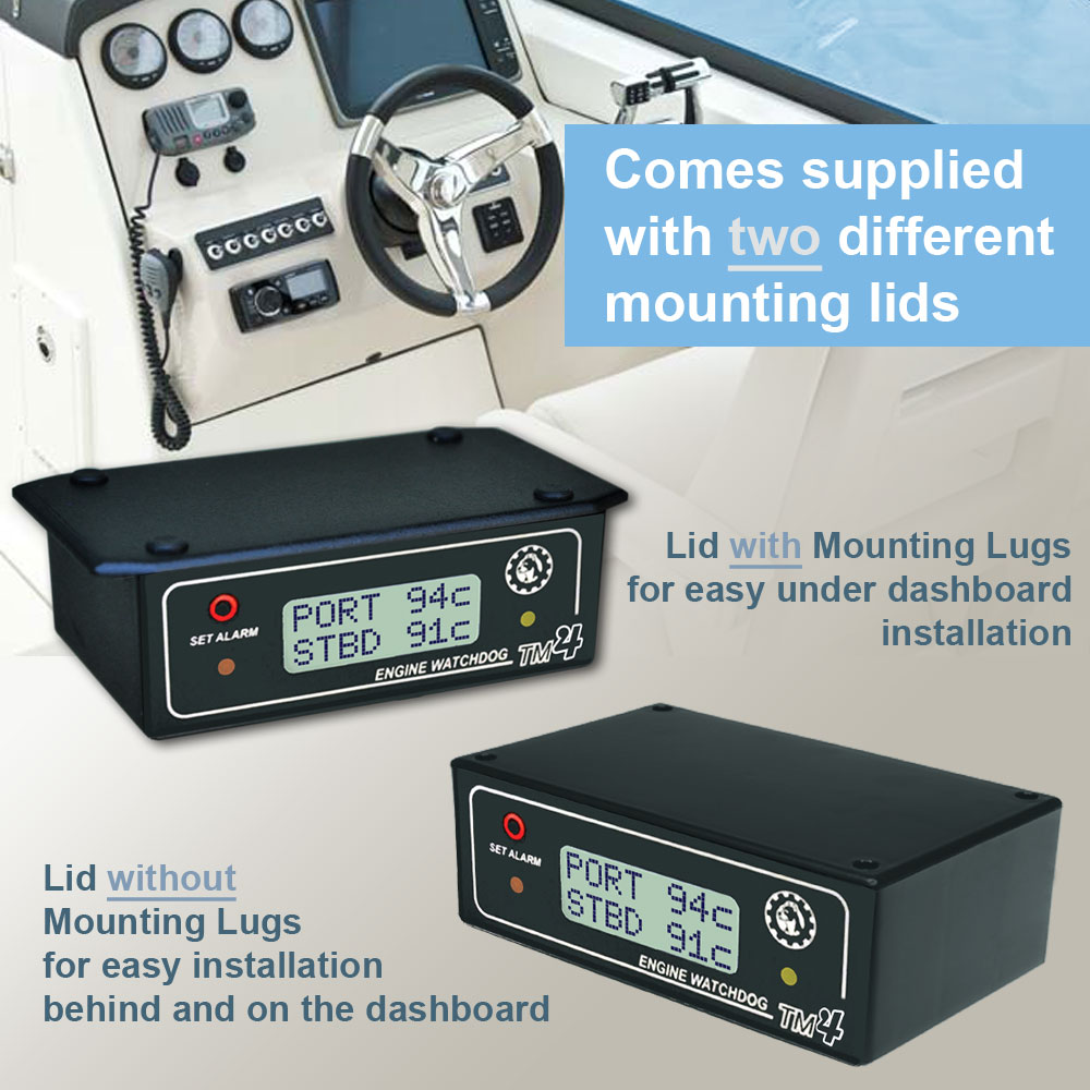 Engine Watchdog TM4 Twin Sensor Marine Supplied with 2 different mounting lids