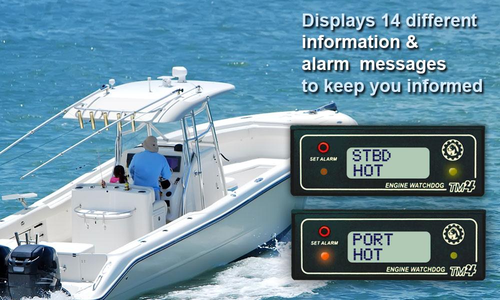 Engine Watchdog TM4 Twin Sensor Marine Displays 14 Different Messages